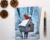 Christmas card holiday card cardinal christmas birdhouse card bird lover notecard cardinal birdhouse personal stationery set hostess gift