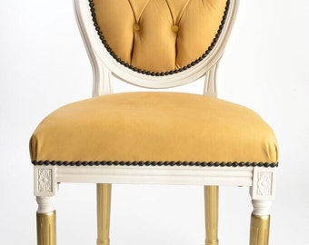Tufted 100% genuine leather custom upholstery painted black white and rose gold on French Louis XVI side dining chair with painted legs