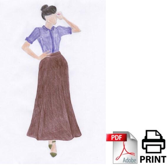 A-line Classic Skirt Printable Pattern Long Skirt Easy
