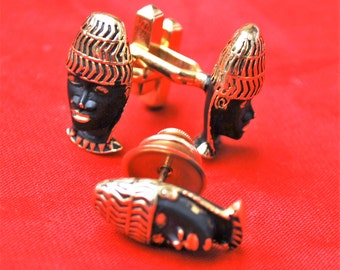 Tribal Face Cuff links Black Gold  Mask blackamoor Matching cuff link and Tie Pin Swank