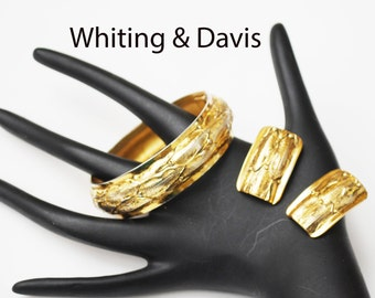 Whiting and Davis Gold  Bracelet and Clip on earrings Set- Gold Filled  hinge bangle Repousse - leaf design