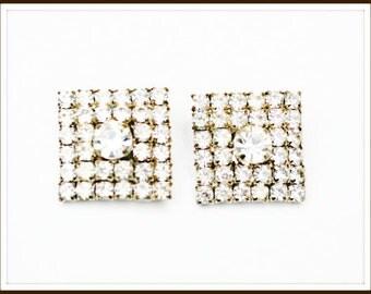 Square Rhinestone Earrings clip on