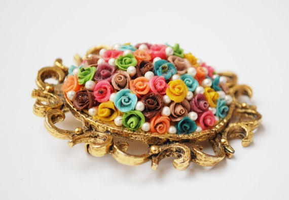 Colorful Flower Brooch Pendant -  celluloid plastic flower- domed ceramic - pearl- gold tone