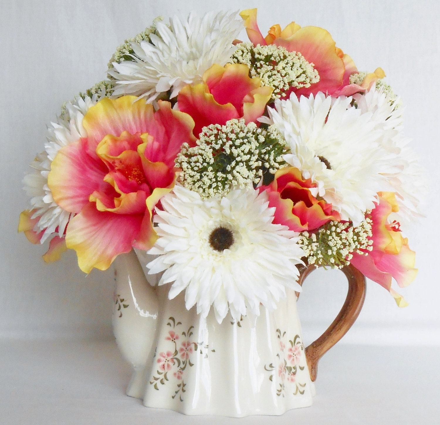 Coral Colored Flower Arrangements Teapot Silk Flo...