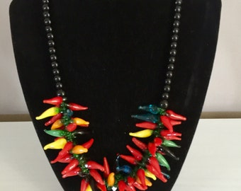 Glass Bead Chilli Necklace