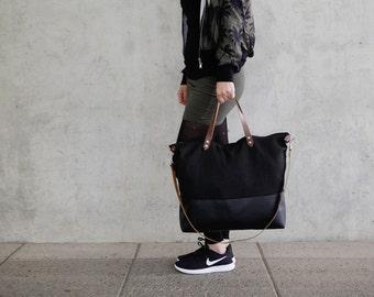 big black crossbody bag canvas fabric daybag sac leather strap large handmade