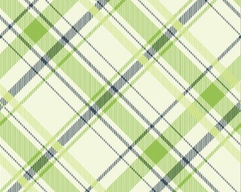 Vintage Verona by Emily Taylor Design for Riley Blake Designs C3603 Green, Navy and Cream Plaid