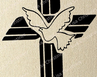 Cross, Easter Illustration, Instant Download, Clipart, Digital Transfer Image for Papercrafts, Pillows, Fabric, Iron on Transfer 236