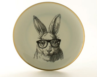 "Altered  Vintage Plate Nerd  Rabbit Bunny Glasses 7.48"" Easter Graduation Present Gift Fun Funny Decoration Kitchen House Decor Houseware"