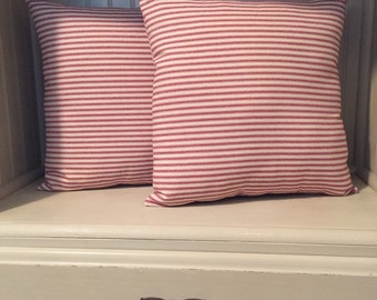 Set of 2 Red Ticking Pillows