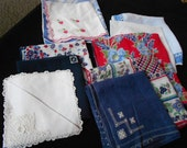 10 Vintage Hankies in Cheery Red White Blue and Green Leaves