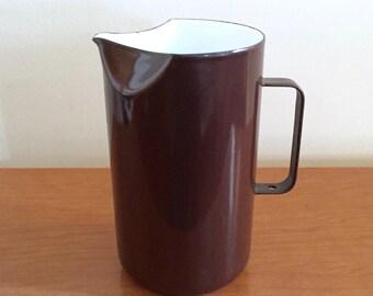 Vintage Finel Arabia Chocolate Brown Enameled Pitcher