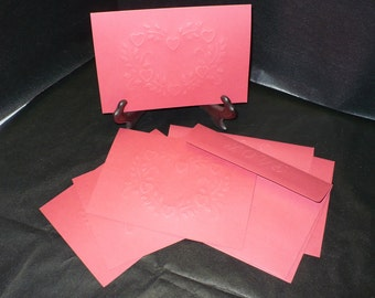 Valentine Red ... Set of 4 Note Cards ... Hand Embossed Card with Matching Embossed Envelope