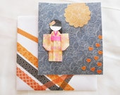 Yuzen Paper Card - Japanese Greeting Card - Chiyogami Paper - Asian Origami Paper - Japanese Paper Doll - All Occasions - Blank Inside
