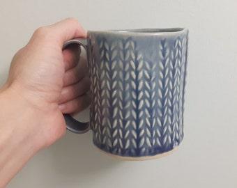 Knit textured mug - purple- hand built pottery