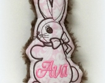 Personalized Light Pink & Brown (Tiny) Vintage Bunny rattle