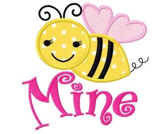Valentines Day Love Bee Mine Custom Monogram Applique Shirt Girls Boys Baby First Valentines Day Shirt