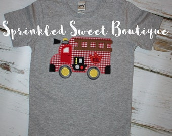 Adorable Boys Firetruck Applique Shirt Perfect for a Birthday Grey or White Shirt Available
