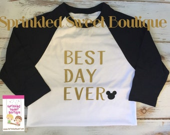 Best Day Ever in Gold Mickey Mouse Inspired Raglan Baseball Shirt Custom Women Men Kid Child Family Perfect for Disney World Trip First Birt