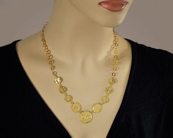 25% OFF SALE Coins-Gold Necklaces Hammered Coins Necklaces
