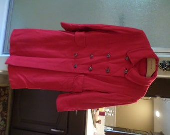 Vintage Saks Fifth Avenue-Womens Lined Winter Coat-Tomato Red/Metal/Stone Buttons-Kingsly-Wool Blend-Medium