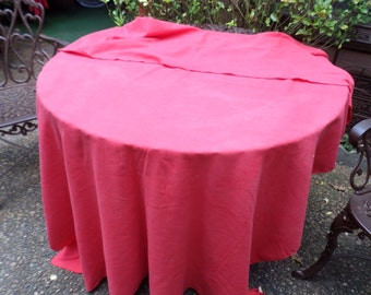 "Vintage Solid Red Linen/Cotton Tablecloth-Christmas Holiday-55"" x 80""-Serving/Table Decor"