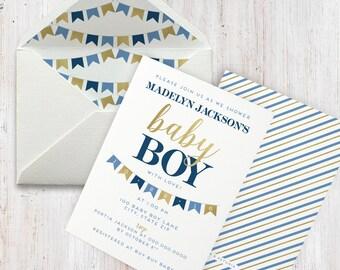 Navy and Gold Baby Boy Shower Invitation, Bunting, Banner, Flag Baby Shower Invite, Envelope Liner