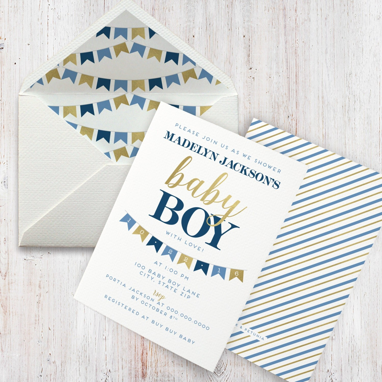 Navy and Gold Baby Boy Shower Invitation, Bunting, Banner, Flag Baby ...