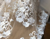 white bridal lace, white embroidered tulle, 3D flower tulle