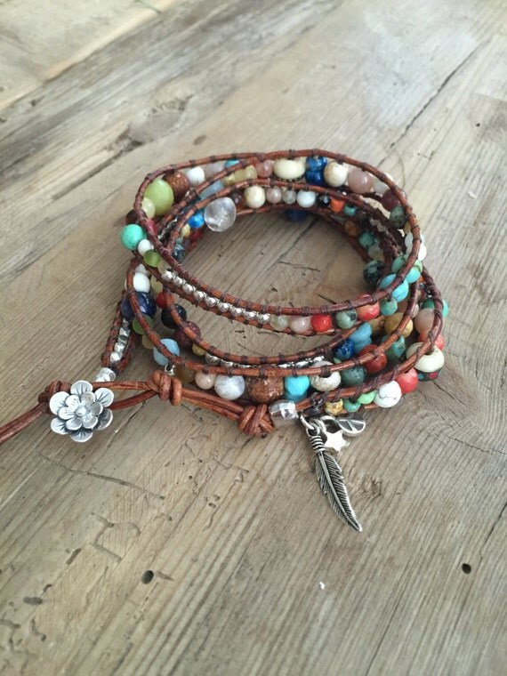 Bohemian, 5 Wrap Leather Semi-Precious Sterling Silver Boho, Beachy Bracelet