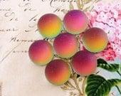 Round 11mm Matte Pink Vitrail Medium Glass Cabochons Preciosa Flat Back Stones Rainbow Cabs - 4