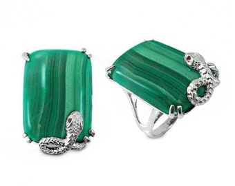 Malachite Ring. Beautiful Sterling Silver Ring with Octagon Malachite Stone. Available in US Ring Sizes 5 - 12.