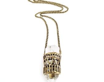 Quartz Crystal Cage Necklace - Geometric Style