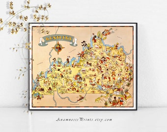 KENTUCKY MAP PRINT - 1930's picture map to frame - vintage illustrated map wall decor - gift idea for many occasions - fun beach house art