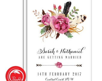 Feather and Rose Save the Date Card