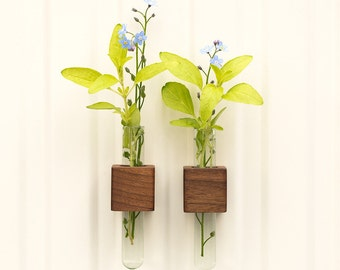 Magnetic test tube flower bud vase walnut wood