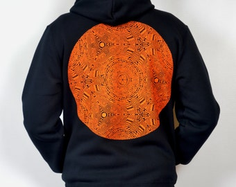 SALE Nihilist's Mandala Navy and orange Hoodie