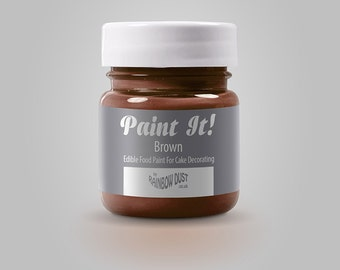 Paint It Edible Food Paint by Rainbow Dust-Brown 25ml for cake decorating
