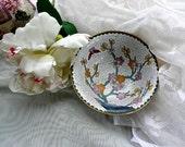 Cloisonne Bowl - Vintage Cinese Cloisonne - White - Prunus Decoration - Flowering Tree Design -Deep Chinese Bowl - Oriental Decor - Asian