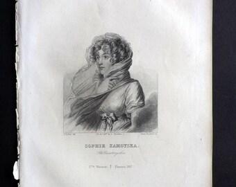 Chodzko Poland 1843 Antique Portrait Print. Sophie Zamoyska