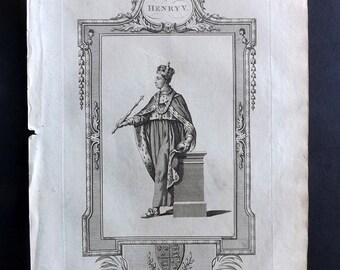 Russell 1779 Antique Portrait Print. Henry V