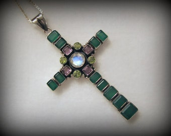 """Vintage NICKY BUTLER Gemstone CROSS and Sterling Chain -- Almost 20g, Hangs 3""""+ Long, Gorgeous Color"""