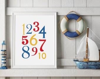 Printable Numbers Nursery Art - 123 Nursery Print - Numbers Nursery Print - Digital Download - Nursery Print Primary Colors