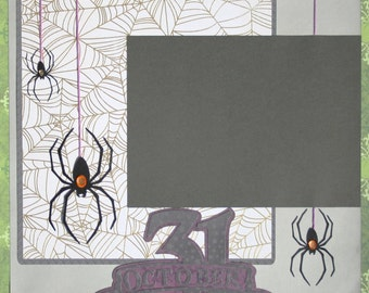 "Halloween Scrapbook Page, Premade Halloween Scrapbook Page, 12x12"", Spide Scrapbook Page, Halloween Decoration, Halloween Wall Art"