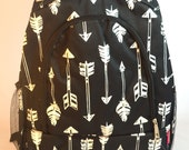 Monogramed Black/White Arrows Canvas Backpack with Black Zipper/Free Monograming or Name Embroidered