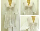 White Lotus Kaftan Beach Cover Up Caftan Dress Womens Spa One Size Petite Cotton Resort