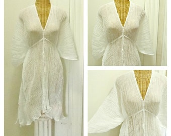 White Lotus Kaftan Cover Up Hygge Caftan Beach Dress Womens Spa One Size Petite Cotton Resort