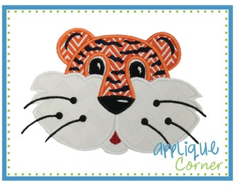 INSTANT DOWNLOAD Tiger Face with Stripes applique digital design for embroidery machine by Applique Corner