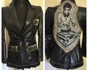 One of a kind, Bruce Lee- DJ leather jacket- size Small