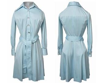 Vintage 1970s Shirtwaist Dress Belted Chemise SAKS FIFTH AVENUE